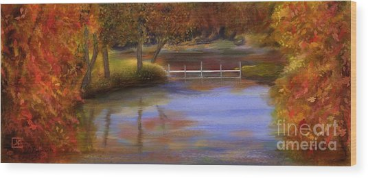 Orange Autumn Colors Reflected In Water  Wood Print by Judy Filarecki