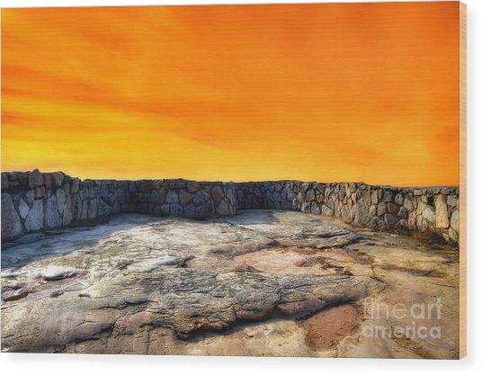 Orange Blaze Wood Print