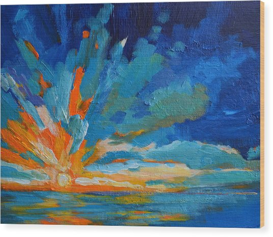 Orange Blue Sunset Landscape Wood Print