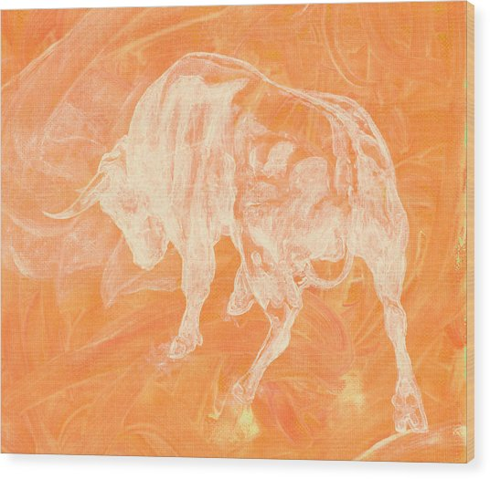 Orange Bull Negative Wood Print