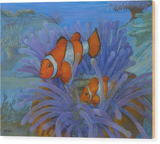 Orange Clownfish Wood Print by ACE Coinage painting by Michael Rothman