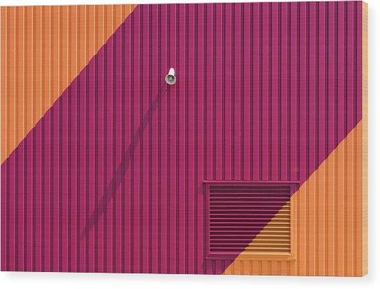 Orange Corners Wood Print