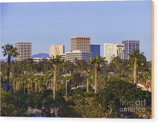 Orange County California Office Buildings Picture Wood Print by Paul Velgos