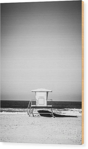 Orange County Lifeguard Tower Black And White Picture Wood Print by Paul Velgos