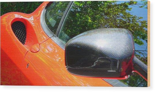 Wood Print featuring the photograph Orange Ferrari  by Jeff Lowe