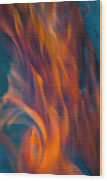 Orange Fire Wood Print