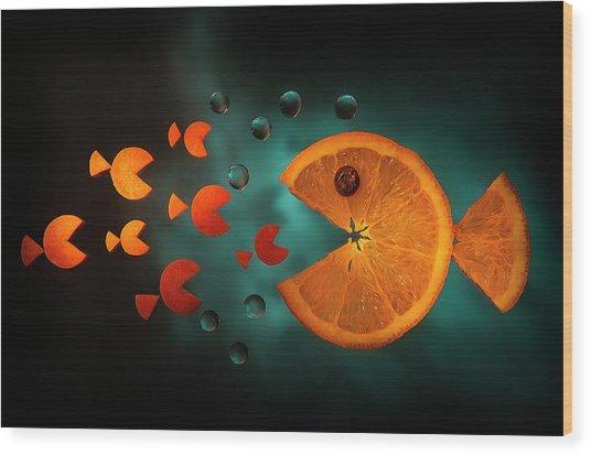 Orange Fish Wood Print by Aida Ianeva