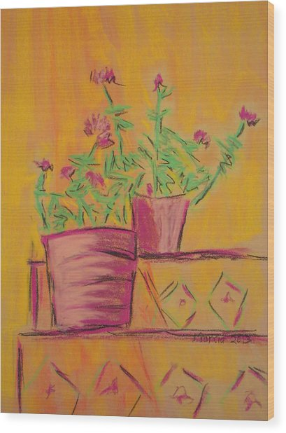 Orange Geraniums Wood Print by Marcia Meade