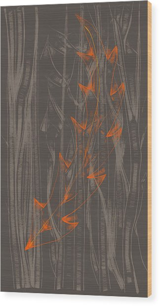 Orange Leaf Wood Print by Lori Ulatowski