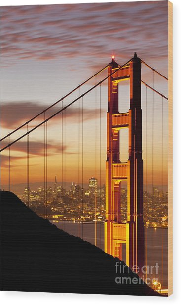 Wood Print featuring the photograph Orange Light At Dawn by Brian Jannsen