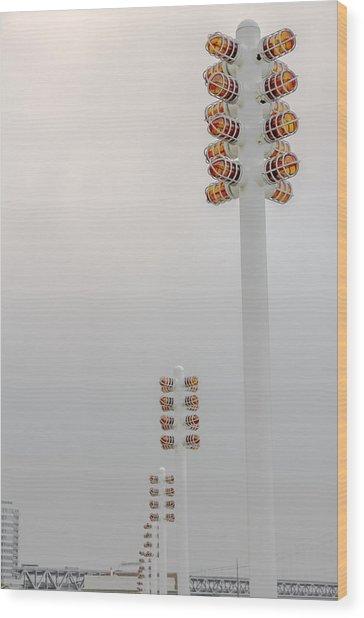 Orange Lights And Fog Wood Print by Studio Janney