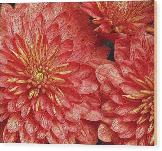 Orange Petals Wood Print