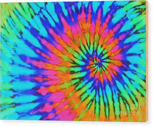 Orange Pink And Blue Tie Dye Spiral Wood Print