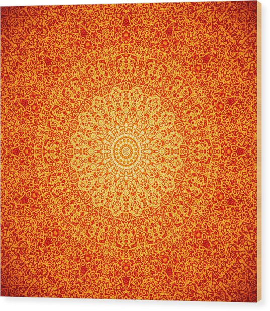Orange Quasicrystal Wood Print