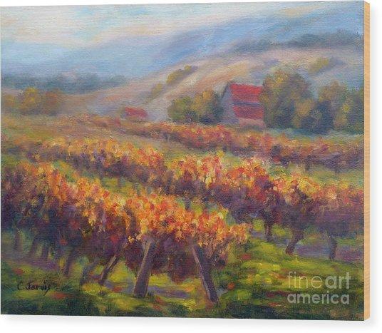 Orange Red Vines Wood Print