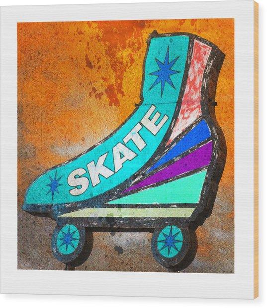 Orange Skate Wood Print by Gail Lawnicki