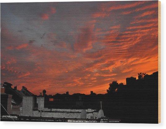 Orange Sky From Brooklyn Roof Wood Print