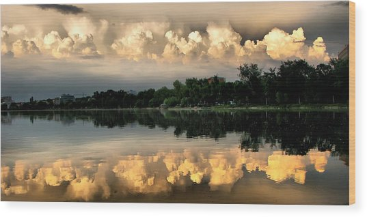 Orange Sunset Reflection Wood Print