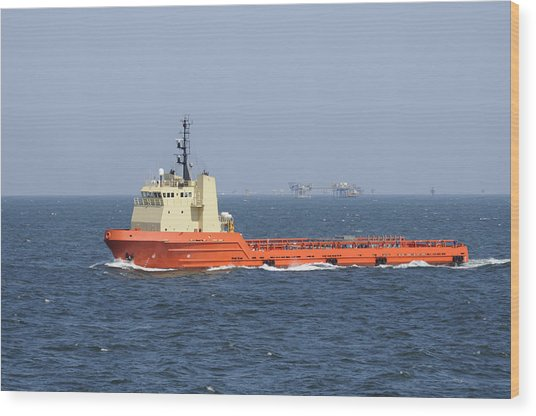 Orange Supply Vessel Underway Wood Print
