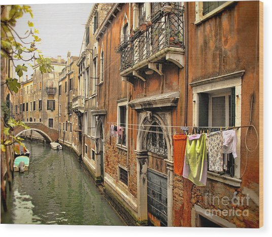 Orange Towel Venice Canal Wood Print