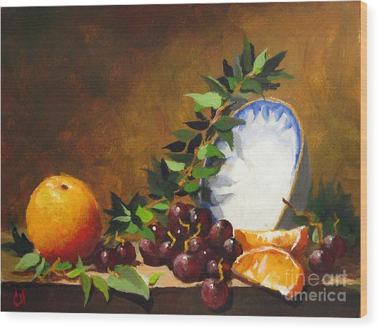 Orange With Bowl Wood Print