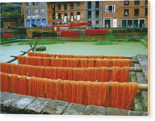 Orange Yarn Wood Print