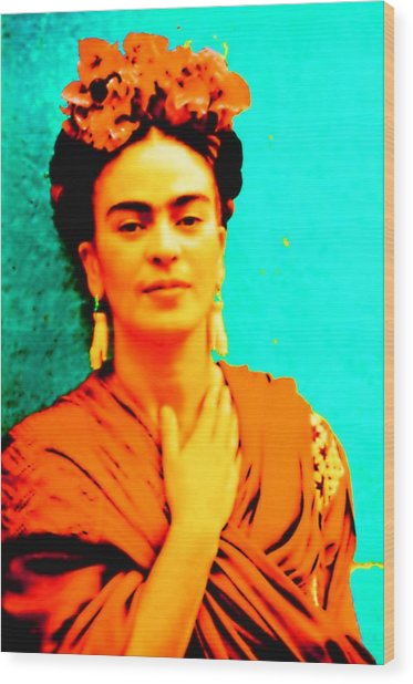 Wood Print featuring the mixed media Orange You Glad It Is Frida by Michelle Dallocchio