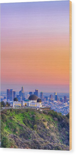 Orangesicle Griffith Observatory Wood Print