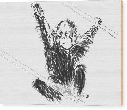 Orangutan Baby Wood Print