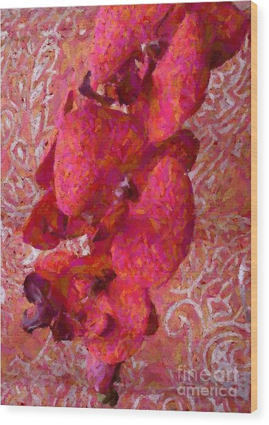 Orchid On Fabric Wood Print