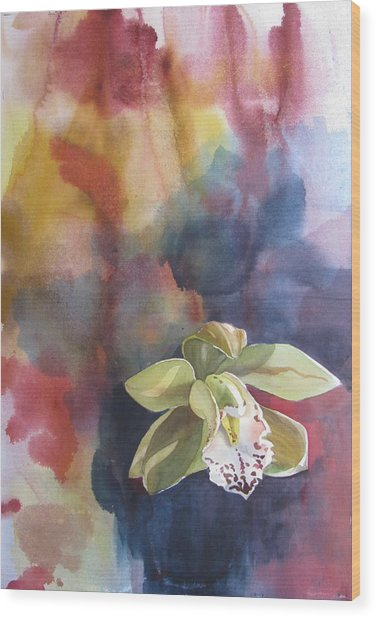 Orchid With Abstraction Wood Print by Alfred Ng