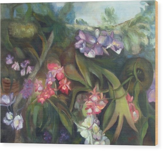 Orchids I Wood Print by Susan Hanlon