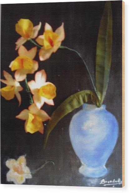 Orchids In A Vase Wood Print by Brenda Almeida-Schwaar