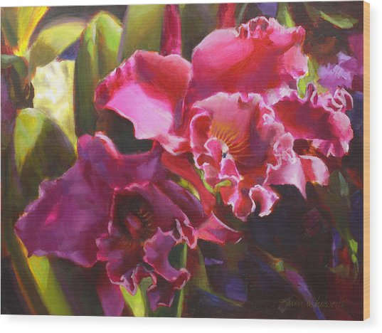 Orchids In Magenta Wood Print