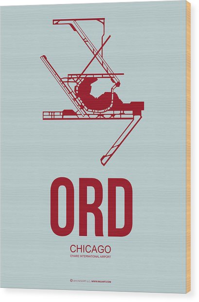 Ord Chicago Airport Poster 3 Wood Print