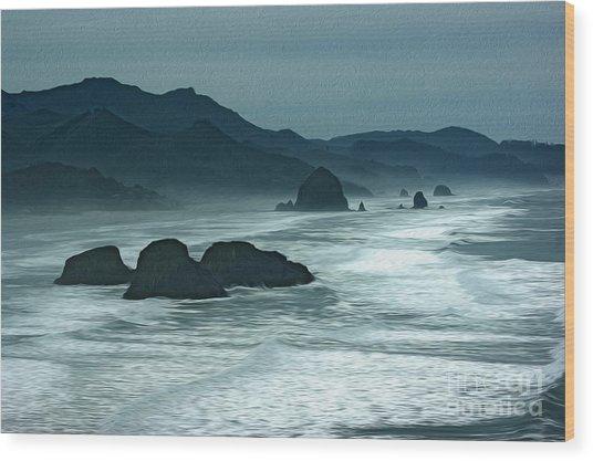 Oregon Cannon Beach Wood Print by Nur Roy