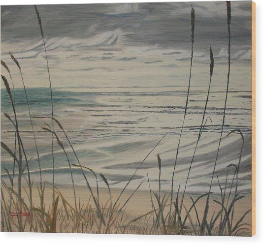 Oregon Coast With Sea Grass Wood Print