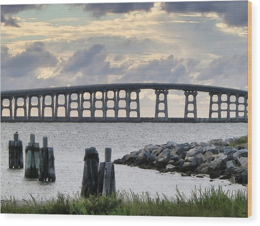 Oregon Inlet Bridge And Pilings Wood Print
