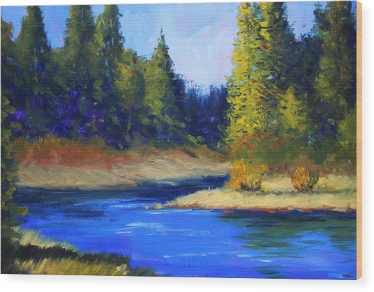 Oregon River Landscape Wood Print