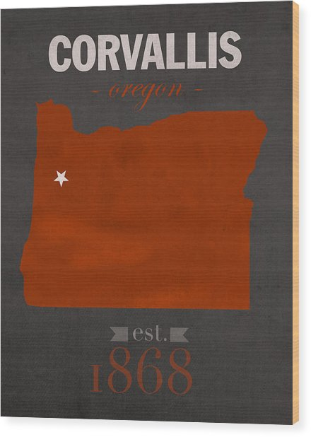 Oregon State University Beavers Corvallis College Town State Map Poster Series No 087 Wood Print