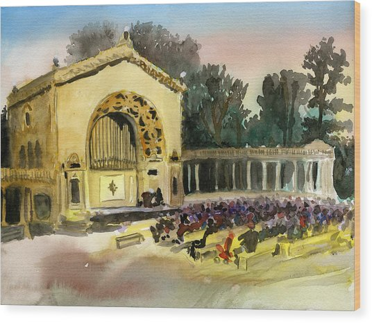 Organ Pavilion Sunset Wood Print