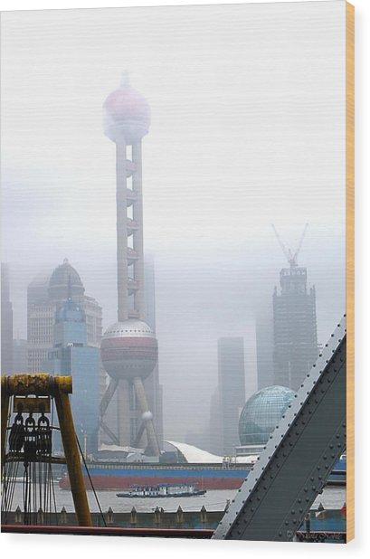 Oriental Pearl Tower Under Fog Wood Print