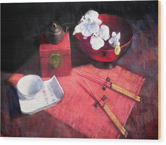 Oriental Still Life Wood Print by Jackie Simmonds