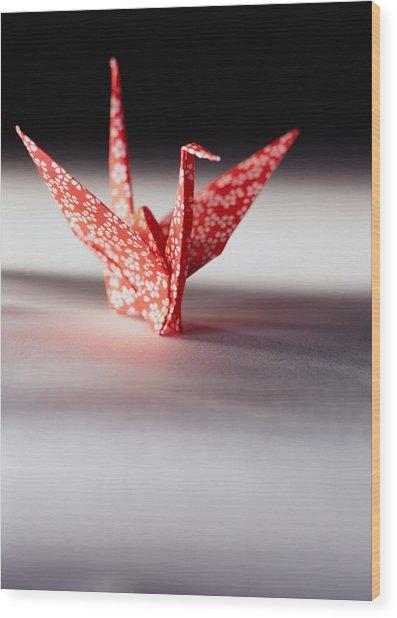 Origami Crane Wood Print by Ryan McVay