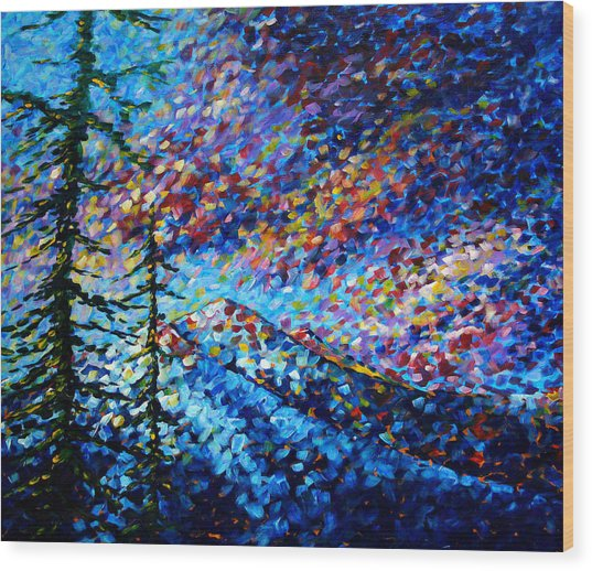 Original Abstract Impressionist Landscape Contemporary Art By Madart Mountain Glory Wood Print