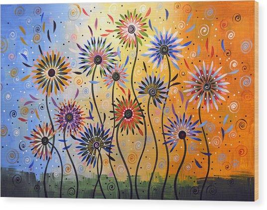 Original Abstract Modern Flowers Garden Art ... Explosion Of Joy Wood Print