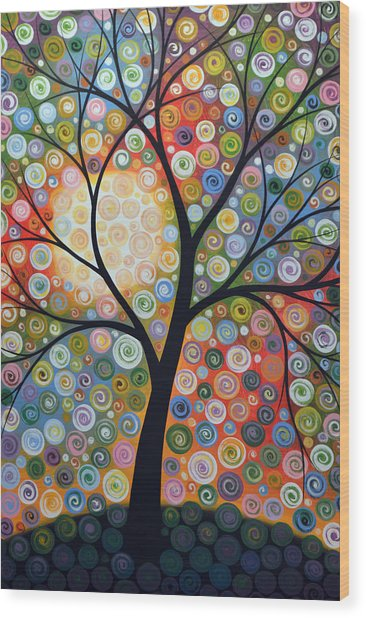 Original Abstract Tree Landscape Art Painting ... Waiting For The Moon Wood Print