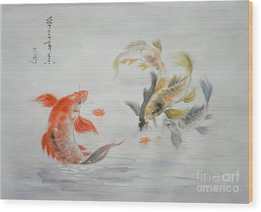 Original Animal  Oil Painting Art- Goldfish Wood Print