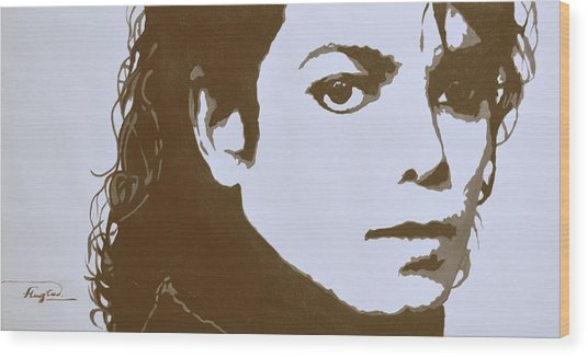 original black an white acrylic paint art- portrait of Michael Jackson#16-2-4-12 Wood Print