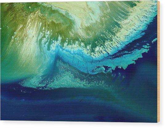 Original Blue Abstract Art Hidden Mountain By Kredart Wood Print